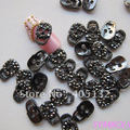 MD-312 3D 50pcs/bag All Black Rhinestone Black Metal Skull Head Metal Nail Decoration Lovely Outlooking Nail Art Decorations