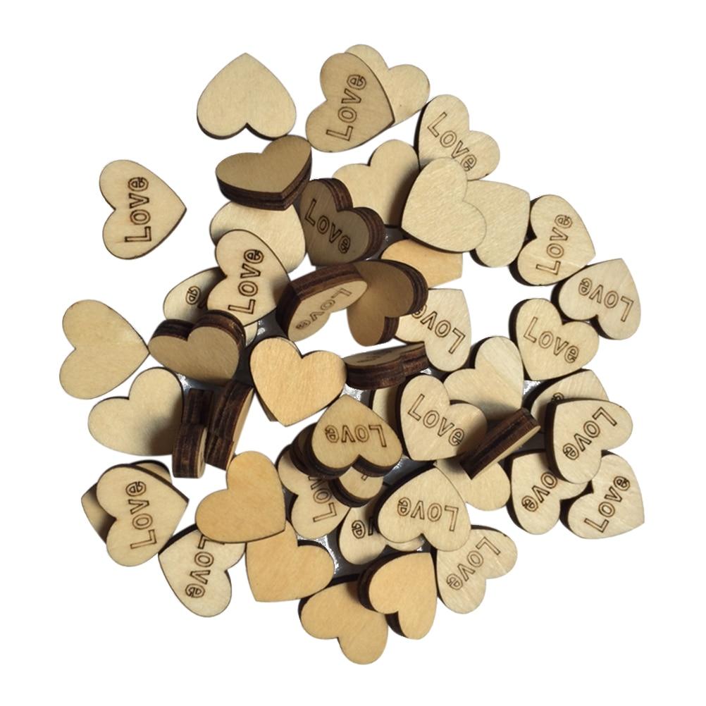 50pcs LOVE Letters Heart Shaped Wood Log