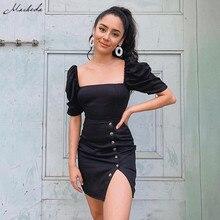 Macheda Summer Dress Women Square Collar Puff Sleeve Knit Sheath Mini Dresses Ladies Black Bottom Split Button Slim Dress