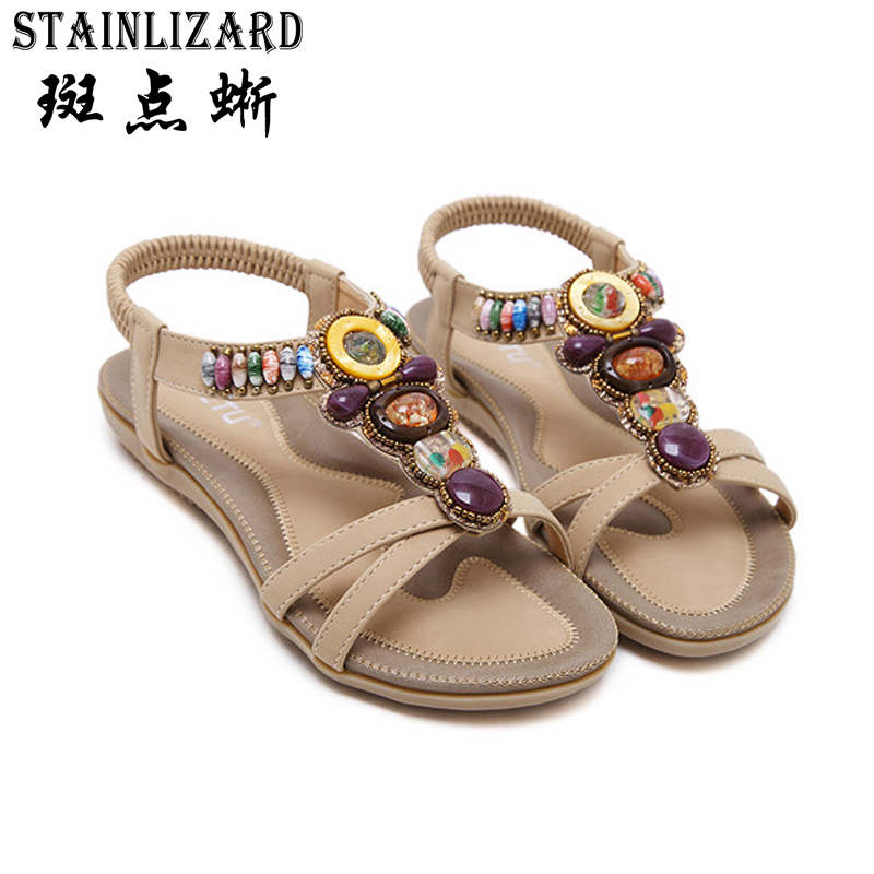 цены 2017 Female Bohemia Flat Sandals Beach Summer Girls Flip Flops Casual Shoes Gladiator Fashion Cute Women Summer Sandals 5-ABT537