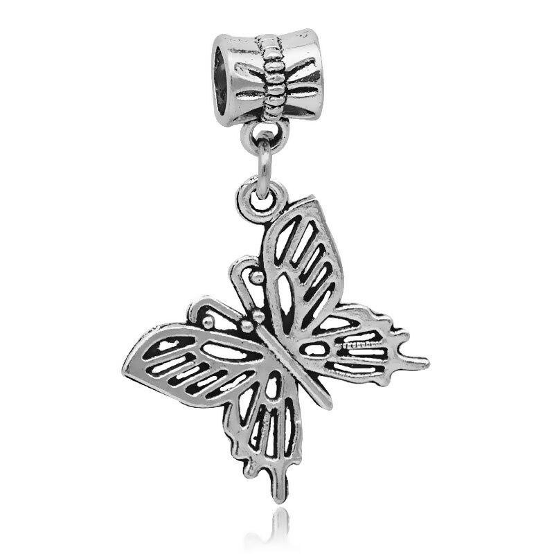 Original european necklaces & pendants antique silver dangle butterfly charm beads fits pandora charm bracelets & bangles