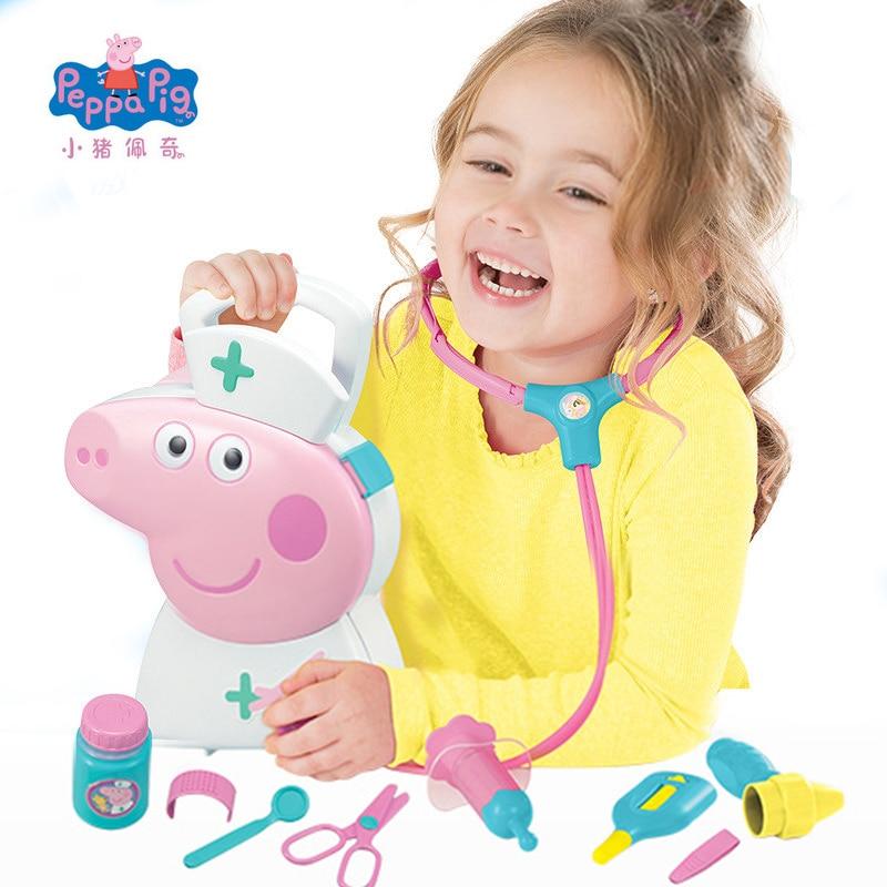 New Genuine Peppa Pig George Nurse handbag Scissors Thermometer Syringe Model Educational Toy Best Christmas Gifts Toys For Kids