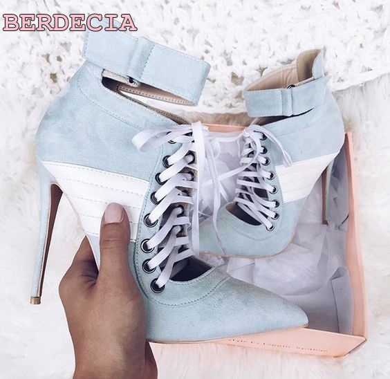color matching denim sandal boots pointed toe stiletto heel shoes lace up ankle booties summer fashion high heel short boots young girl s black suede open toe lace up ankle sandal boots stiletto heel fringe dress shoes braid embellished party shoes