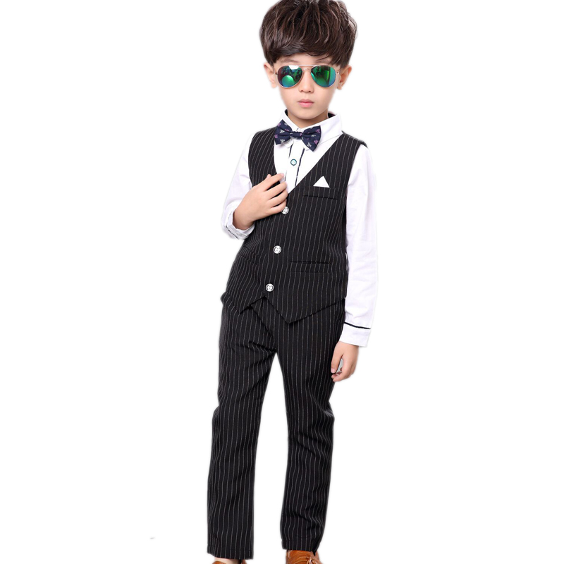 Kids Party Evening Tuxedos New Children Formal Suits For Boys Autumn Striped Clothing Sets Blouse+Vest+Pant 3pcs Wedding Wear boys clothing set striped vest pant shirt suits formal outfits kids school uniform baby children wedding party boy clothes sets