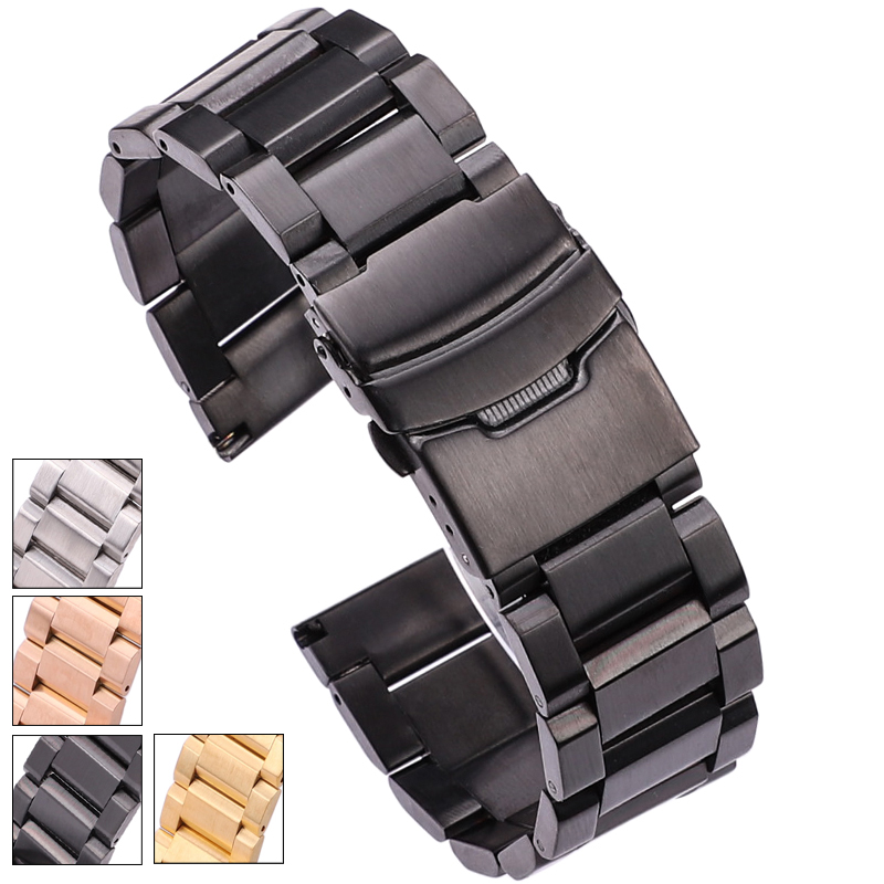 Ремешок HENGRC из нержавеющей стали для наручных часов, черный однотонный браслет из нержавеющей стали, серебристые и золотистые аксессуары д...