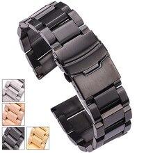 Hengrc preto pulseira de relógio de aço inoxidável 18 20 22 24mm sólido aço inoxidável prata ouro pulseiras cinta acessórios