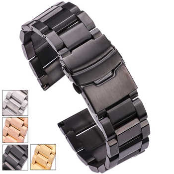 HENGRC Black Stainless Steel Watch Band Bracelet 18 20 22 24mm Solid Stainless Steel Silver Gold Watchbands Strap Accessories - DISCOUNT ITEM  45% OFF All Category
