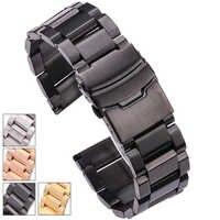 HENGRC Bracelet de montre en acier inoxydable noir Bracelet 18 20 22 24mm solide en acier inoxydable argent or bracelets de montre accessoires de sangle