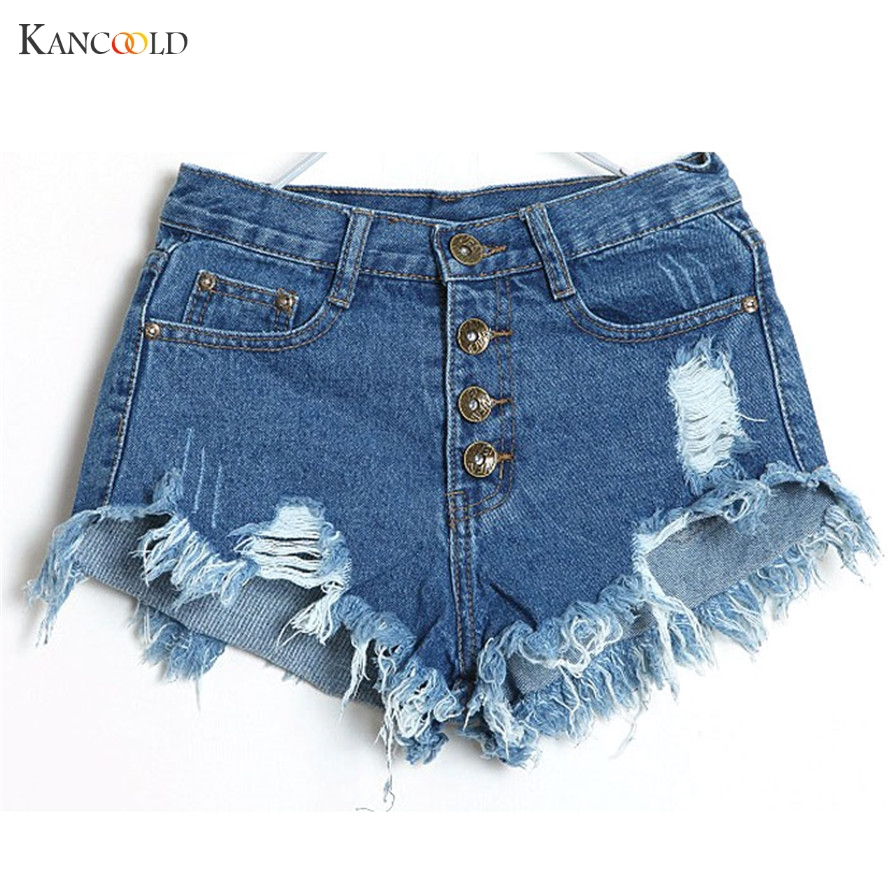 2017 sexy Summer Wind Female Blue High Waist Denim Shorts Women Worn Loose Burr Hole Jeans Shorts Girl Hot Short Female short summer women fashion high waist jeans shorts worn hole straight denim shorts solid blue curling edge poket casual shorts