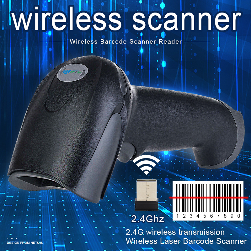 Wireless Laser Barcode Scanner Long Range Cordless Bar Code Reader untuk POS dan Inventaris - NT-2028