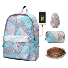 New Small Fresh Ladies Geometric Pattern USB Interface Laptop Backpack Young Schoolbag For Teenage Girls Woman Travel Back Pack