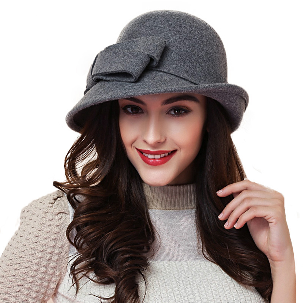 809008d86 FS Wool Felt Bowler Fedora Hat For Women Elegant Ladies Vintage Wide Brim  Winter Church Cloche Hats With Bowknot Wine Red Cap