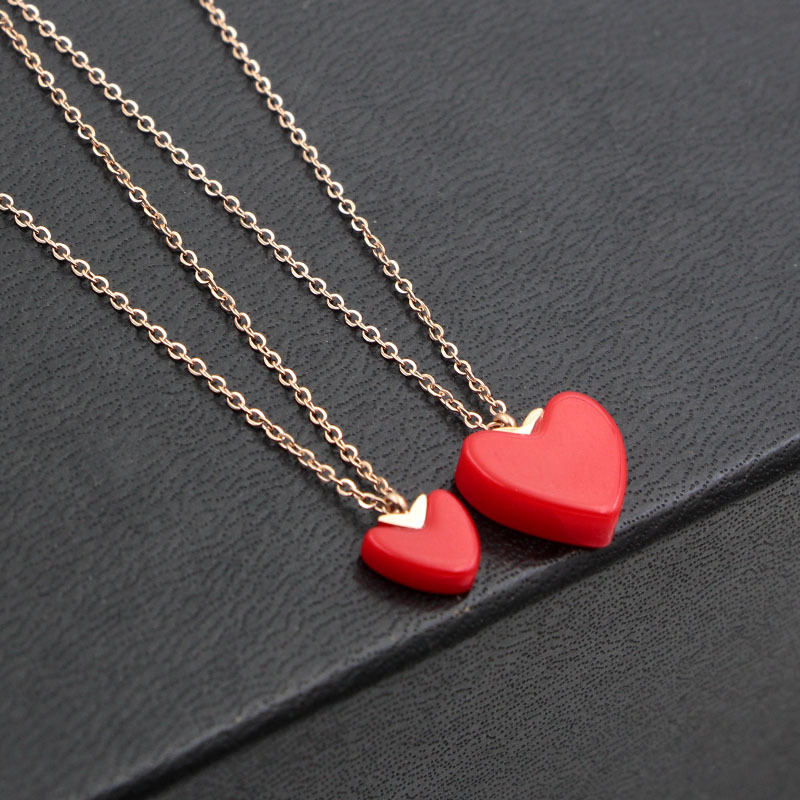 2018 Fashion Stainless Steel Rose Gold Color Love 13mm  9mm Red Resin Heart Pendant Necklace Women Wedding Party Gift