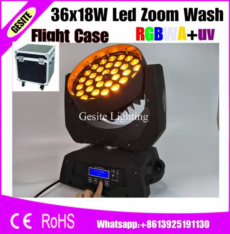 2pcs/lot flight case package 36*18W Moving Head Led Dj Zoom Wash Light for Wedding Party rgbway 6 in 1 lyre moving light