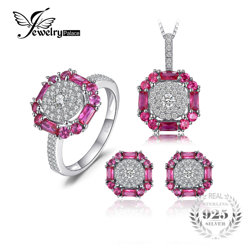 JewelryPalace 3ct Created Ruby Stud Earrings Ring Pendant Necklace Fine Jewelry Sets 925 Sterling Silver 45cm Chain For Women jewelrypalace 2 55ct natural lemon quartz halo ring stud earrings pendant neckalce chain 45cm 925 sterling silver jewelry sets
