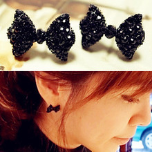 New hot Fashion Simple Vintage Metal Black Butterfly Bow stud font b earrings b font lady