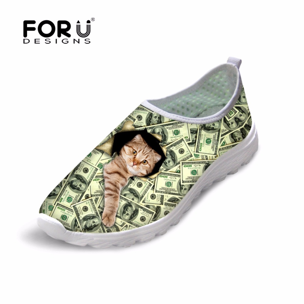 FORUDESIGNS 3D Animal Cute Cat Dog Prints Flats Shoes Woman Summer Breathable Mesh Shoes for Women Casual Female Flat Shoes cute 18 inch animal cat dog printing