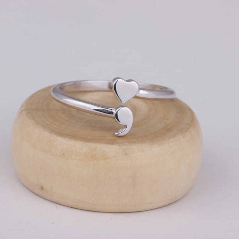 Nuevo punto y coma 925 anillos de plata esterlina Hotsale inspirada conciencia Semi colon envío de la gota de la joyería YLQ2060
