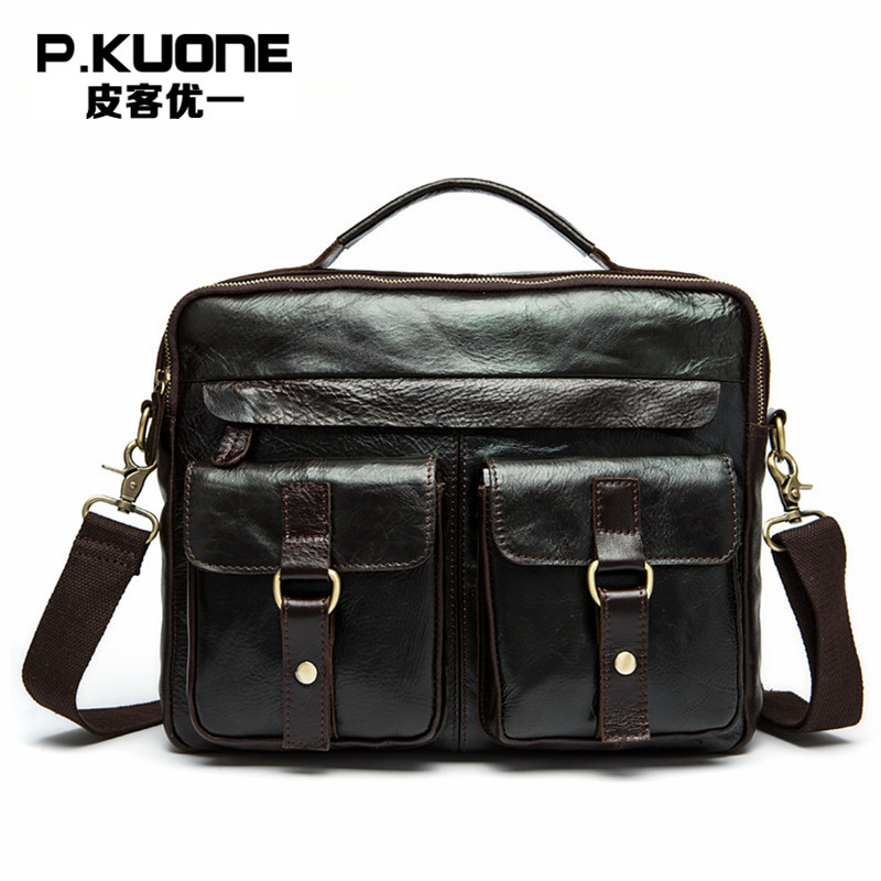 P.KUONE Vintage Genuine Leather Men Messenger Bags Cowhide Leather Male Bag Casual Men Briefcase Shoulder Bag CrossBody Handbag new p kuone brand men bag handbag genuine leather shoulder bag cowhide leather men briefcase business casual men messenger bags
