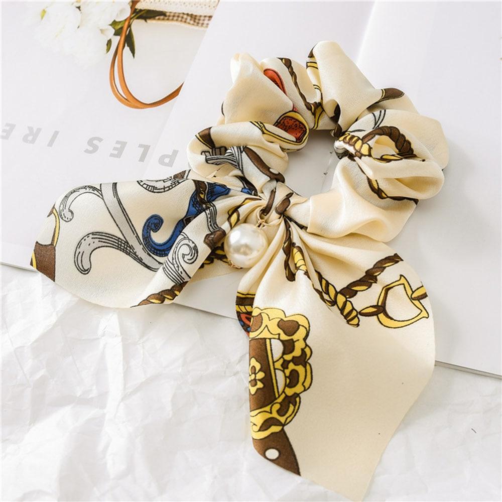 Nouveau mousseline de soie Bowknot élastique bandes de cheveux pour les femmes filles perle chouchous bandeau cheveux cravates élastique pour queue de cheval accessoires de cheveux 18