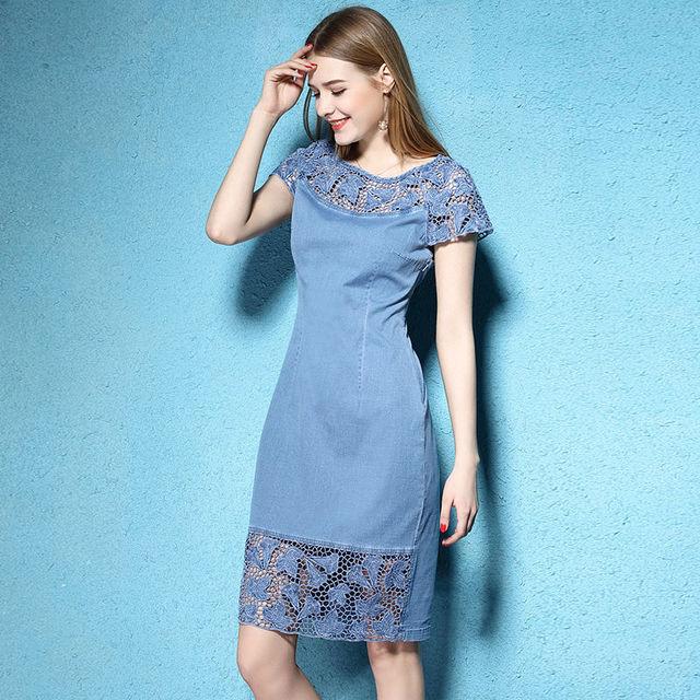 2017 Для женщин Летнее платье из джинсовой ткани Джинсы для женщин короткий рукав Кружево платье с вышивкой опрятный джинсовые платья гипюр Для женщин большие размеры XXXL XXXXL