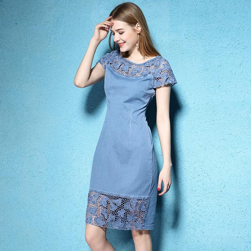 2018 Women Summer Denim Dress Jeans Short Sleeve Cotton Lace Embroidery Preppy Denim Dresses Guipure Women Big Sizes xxxl xxxxl