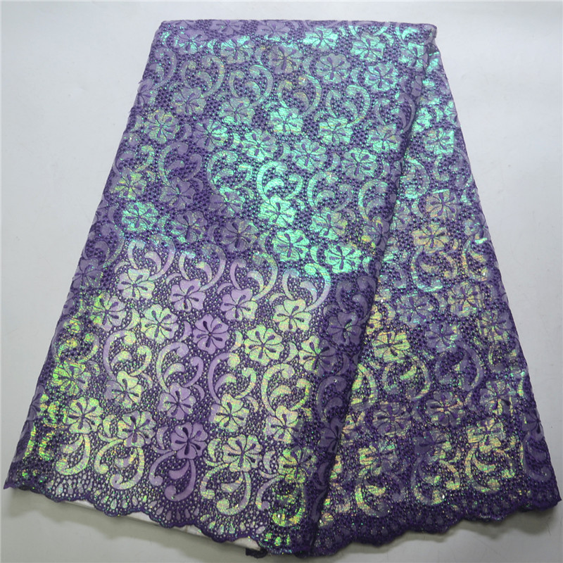 Top Quality handcut Swiss Lace Fabric Luxury Sequins Embroidered African Purple Organza Lace Fabric For Party
