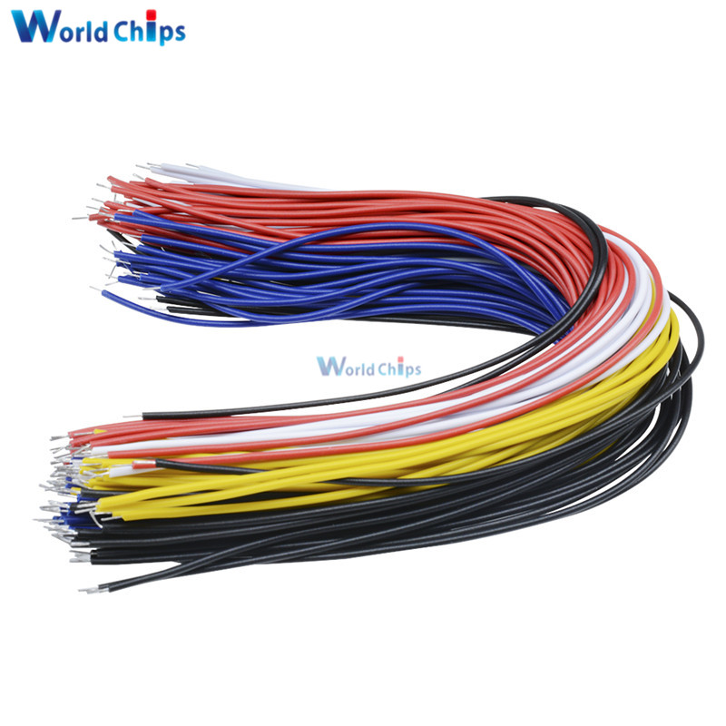 100Pcs Double Head PCB Solder Cable 20CM Breadboard Fly Jumper Wire Cable Tin Conductor 5 Color