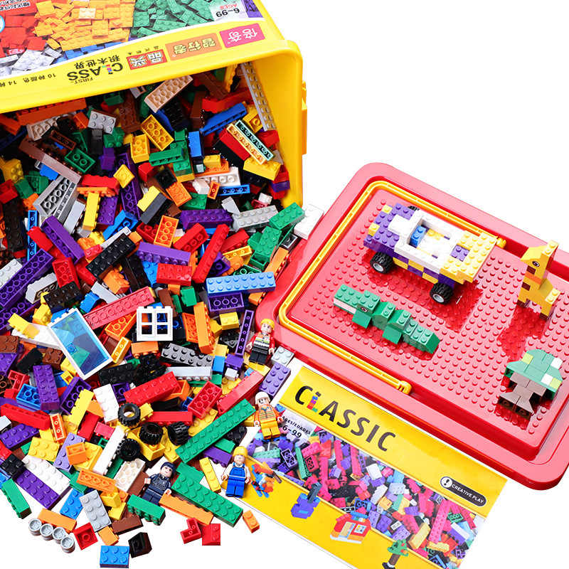 New 500/1000 PCS Building Blocks Bricks Set DIY Creative Toys Kids Educational Bulk Rainbow Bricks Compatible With Most Block