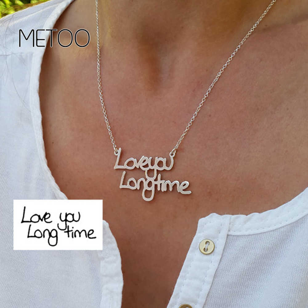 2019 Stainless Steel Personalized Handwritten Name Necklace for Women Custom Jewelry Pendant Choker Necklace Not Change Color