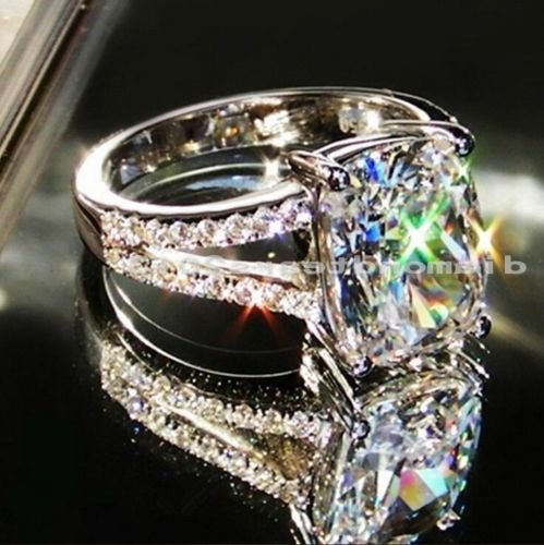 Size 5-10 Hot sale Unique Round Jewelry 10KT white gold filled AAA Cubic Zirconia Gem Wedding women Ring gift choucong