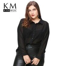 Kissmilk plus size moda feminina clothing preto sólido dip hem lace pura Camisa Blusa Camisa de Manga Longa Tamanho Grande 3XL 4XL 5XL 6XL(China (Mainland))