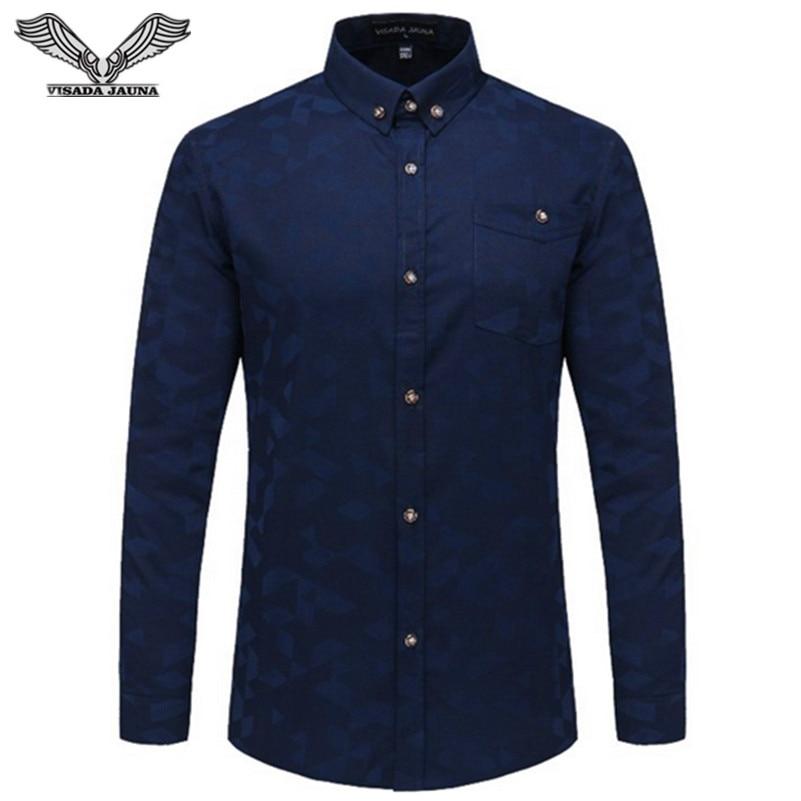 VISADA JAUNA Férfi ingek 2017 Egyszínű Vékony Vékony Alkalmi - Férfi ruházat
