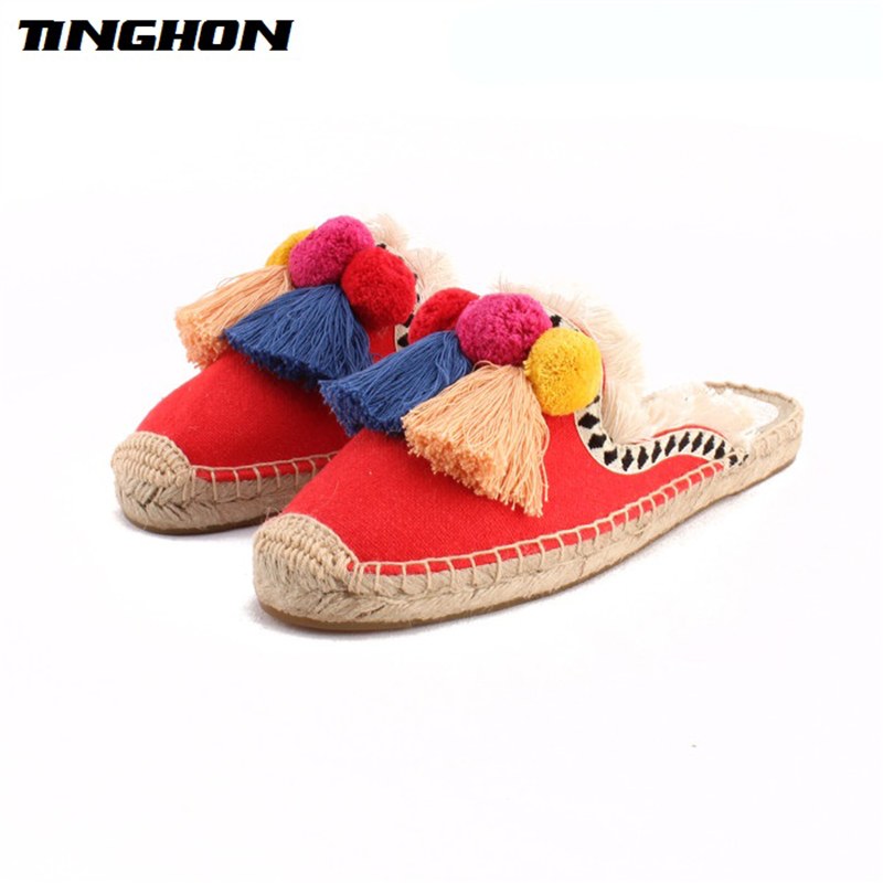 TINGHON NEW Summer Linen Flax Cork Women Slides Hand-made Slippers Tassels Triple Chuzzle Fishermen Shoes Femininos