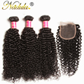 7A Brazilian Curly Virgin Hair With Closure 130% Density Virgin Curly Hair Lace Closure Brazilian Curly Bundles With Closure