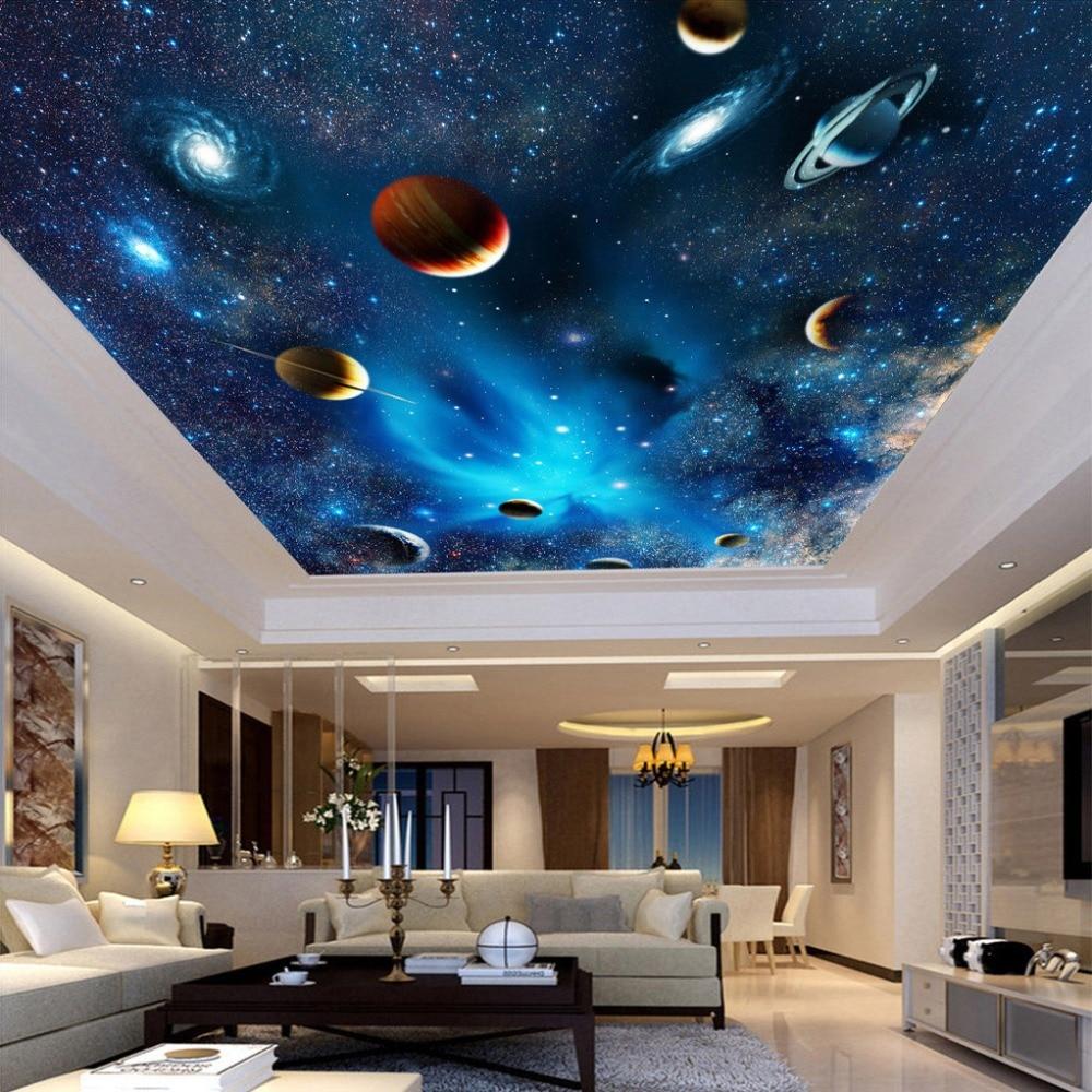 Custom Any Size 3D Wall Mural Wallpaper For Living Room Bedroom Ceiling Wallpaper Wall Decor Universe Planet Star Ceiling Fresco