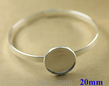 20mm New Silver Plated Brass Circle Round Bezel tray Blank Cabochon Bases Lock cuff Bracelet Bangle Settings Findings Wholesale