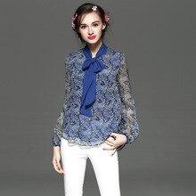 Hot sale spring summer new fashion high end women long sleeve shirt,Ms. V-neck prints Slim silk shirt,100% silk female blouse