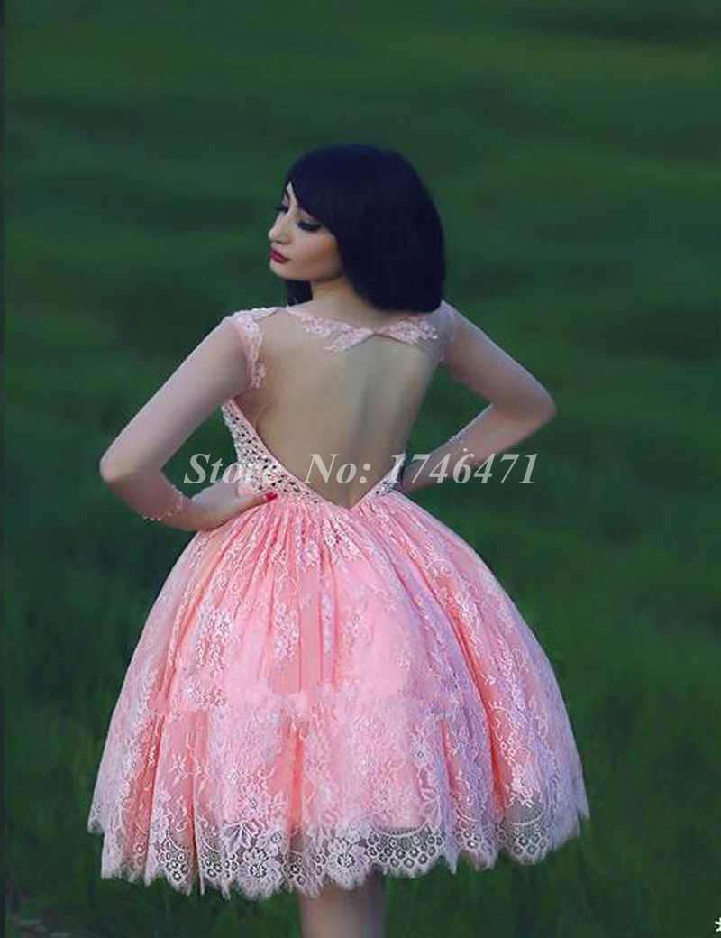 2017 ball gown bateau long sleeve beaded crystal pink lace party 2017 ball gown bateau long sleeve beaded crystal pink lace party homecoming dresses vestido de 15 anos curto short prom dress in prom dresses from weddings ombrellifo Images