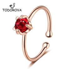 Todorova Pretty Cat Adjustable Ring Girls Children Gift Shiny Red Black CZ Cubic Zircon Crystal Rings for Women Fashion Jewelry
