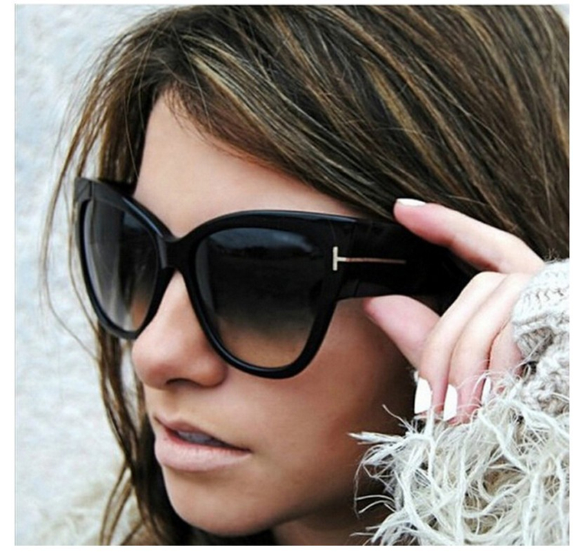 Luxury Brand Designer Women Solglasögon Oversize Acetate Cat Eye Sun Glasses Sexy Shades