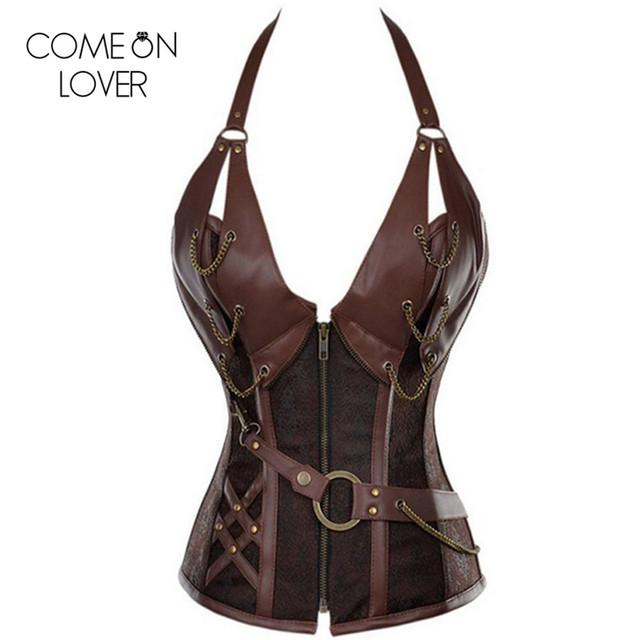 AE2231 Mujeres brown deshuesado acero steampunk corsé con la chaqueta y la correa ropa corsés y bustiers top corsé más del tamaño S-6XL