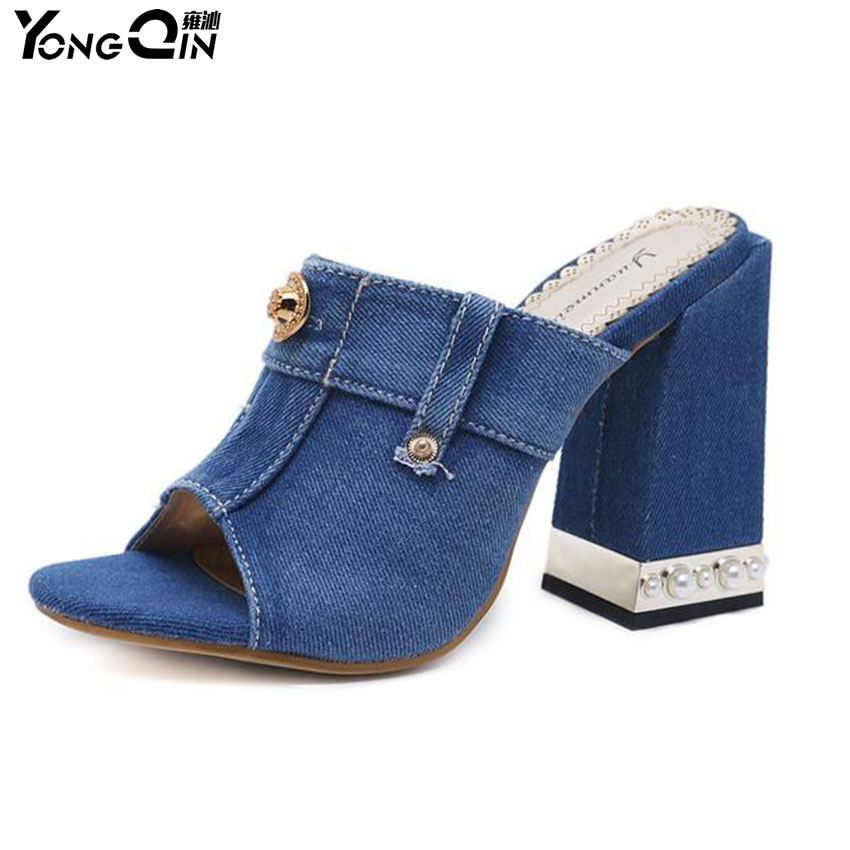 Fashion Black Blue Denim Women Sandals Women Open Toe High Heeled Casual sandals for ladies