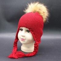 ユニークなデザインの女の子毛皮のポンポンpoms冬帽子ウールニット爆撃機帽子かぎ針編みのベビー帽子赤ちゃん製品ビーニーアパレルアクセサリ