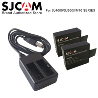 2 шт. SJCAM Батареи аккумуляторная Батарея + двойной Зарядное устройство для sj4000 sj5000 SJ5000X Elite WI-FI M10 ПЛЮС Действие Камера Интимные аксессуары