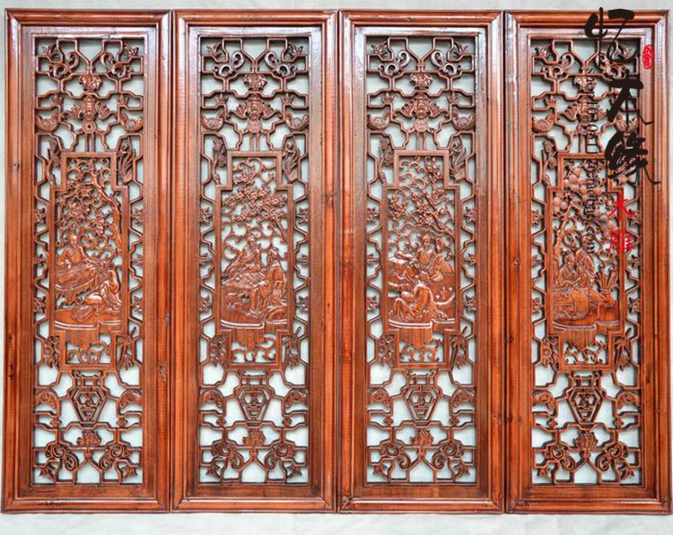 Dongyang woodcarving, camphor wood, wood carving, flower plate, antique Chinese style, four sets of wall pendant, carved screen, parasitic wood