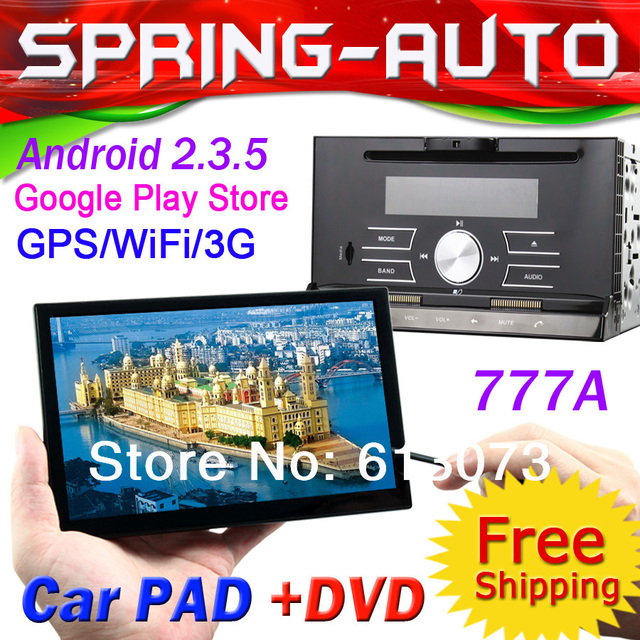 FREE SHIPPING 2 din Car Radio PC DVD Multimedia 777A  Android 2.3 1GHz CPU,512M RAM,Analog TV,Camera,Recorder GPS Nav 3g wifi