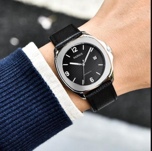 Relogio Masculino PARNIS Automatic Watch Men Top Brand Luxury Leather Mens Watches Fashion Casual Sport Clock Men Wristwatches relogio masculino quartz watch men 2017 top brand luxury leather mens watches fashion casual sport clock men date wristwatches