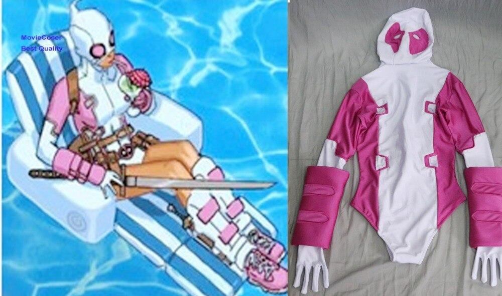 MovieCoser Custom Made GwenPool Costume Comic Lady Deadpool Suit Rosa - Disfraces - foto 2