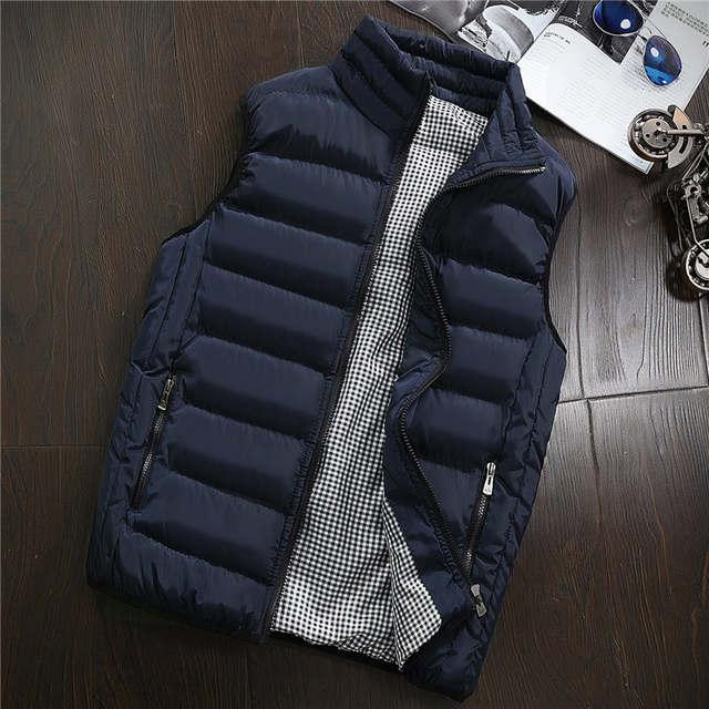 US $22.45 39% OFF|Nieuwe Vesten Mannen Merk Heren Mouwloze Jas Katoen Gevoerde heren Vest Herfst Winter Casual Jassen Mannelijke Vest 5XL plus Size